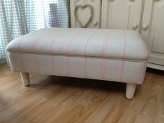 Susie Watson vintage footstool duck egg, upholstered by History Recovered
