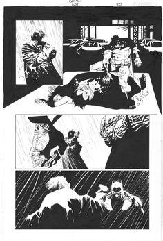 Risso, Batman Issue 624 page 20 par Brian Azzarello, Eduardo Risso - Planche originale Comic Book Pages, Comic Book Artists, Comic Artist, Comic Books Art, Black And White Comics, Black And White Drawing, Storyboard, Illustrations, Illustration Art