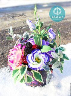 Купить Осенняя композиция в жестяной банке - фиолетовый, роза, эустома, ягоды, жестяная банка
