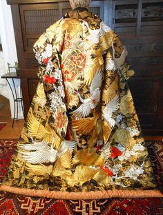 Vintage Japanese Wedding Kimono, Fits Everyone, Black w/ Gold/Silver Cranes