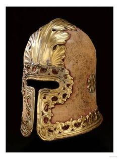 Italian Barbute from A Stemma, In c Form Derived from the Ancient Greek Corinthian Helmet Medieval Helmets, Medieval Armor, Medieval Fantasy, Armor All, Arm Armor, Historical Artifacts, Ancient Artifacts, Corinthian Helmet, Ancient Armor