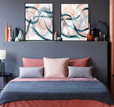Bold Coral art in teal Room Teal Art, Teal Coral, Teal Rooms, Bedroom Decor, Wall Decor, Complimentary Colors, Color Trends, Favorite Color, Bed Pillows