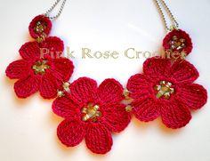 \ PINK ROSE CROCHET /: Colar Biju Red Flowers