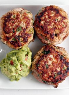 Jalapeno Chicken Burgers with Guacamole --- Does anyone have a good suggestion on how to make paleo chicken/ turkey burgers stay together? Mine always want to crumble when I turn them on the grill/pan :/