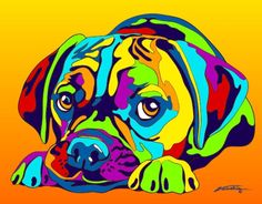 Multi-Color Puggle Dog Matted Prints & Canvas Giclées. Hand painted and printed in USA by the artist Michael Vistia. Dog Breed: Puggle is the name for a crossbreed dog with a beagle parent and a pug p