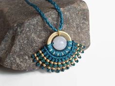 Teal and golden macrame necklace with white jade and brass, ethno necklace