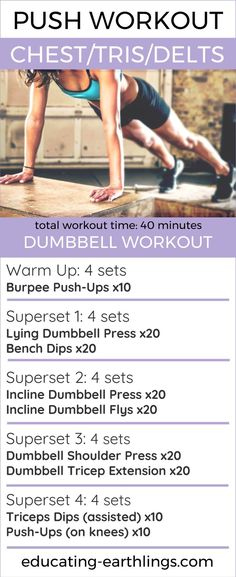 Push Workout: push-pull-leg split, chest workout, women's fitness, healthy living, vegan fitness, workouts, free workouts, dumbbell workouts, at home workouts, gym workouts, push routine