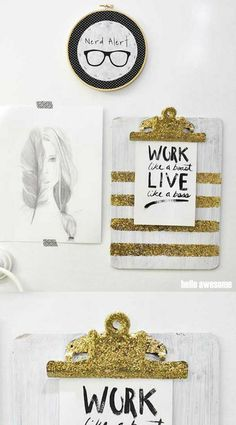 Jacy loves bombing things with glitter! So much that she made this DIY clipboard with the chunky gold kind. See how she made this easy project.