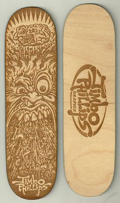 "FREE SHIPPING FOR ALL CUSTOMERS IN THE U.S.    Highly collectible signed limited edition ""SICK"" Mini Laser Engraved White Russian Birch Wooden Deck by legendary extreme sports artist JIMBO PHILLIPS, famous for his incredibly extensive line of graphics spanning from Santa Cruz Skate/Snow/Surf Boar..."