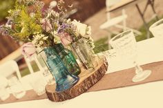 wood cut centerpiece