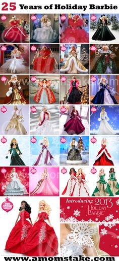 A Look back at 25 Years of Holiday Barbie - Great #gift for Women! I totally remember 1996 & 1997 dolls from growing up!