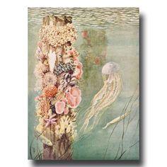 Jellyfish Print 1930s Ocean Print Old by ParagonVintagePrints