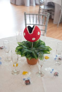 Each table had a different centerpiece from a video game: this one is a Piranha Plant from Super Mario Bros. Succulent Wedding Centerpieces, Succulent Centerpieces, Baby Shower Centerpieces, Candy Centerpieces, Super Mario Bros, Super Mario Party, Geek Wedding, Wedding Games, Wedding Ideas