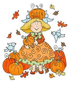 Free Dearie Dolls Digi Stamps: Queen of the Pumpkins