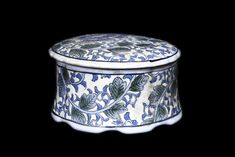 Chinese Canton Oriental Blue And White Lidded Bowl