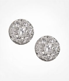 Express Womens All Over Cubic Zirconia Circle Stud Earrings