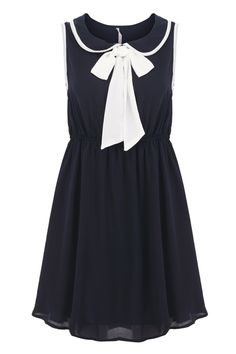 collared tie bow navy dress