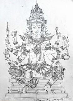 Drawing Sketches, Drawings, Samurai Tattoo, Thai Art, Durga Goddess, Sacred Art, Line Design, Buddhism, Fine Art Prints