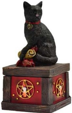 """Magical Cat box 5"""" x 2 1/2"""". A wonderful way to decorate with your ritual tools. This petition box can serve in a variety of ways. Cold cast resin. Outside 5"""" x 2 1/2"""" x 2 1/2"""" - Inside 2"""" x 2"""" x 1 1/2"""""""