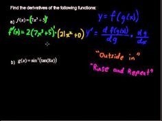 How to use the Chain Rule of Differentiation to Find Derivatives? Calculus Tips. Then take an online Calculus course at StraighterLine f. Chain Rule, Maths Exam, Homeschool Math, Differentiation, School Organization, Study Tips, Algebra, Fun Learning