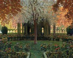 Rusinol, Santiago (Spanish, 1861-1931) - Garden in Aranjuez