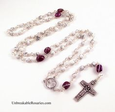 Pope Francis rosary beads in white magnesite and purple zebra jasper. www.UnbreakableRosaries.com