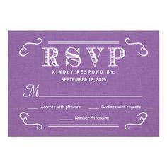 RSVP Orchid Purple Rustic Burlap Wedding Reply Custom Invites
