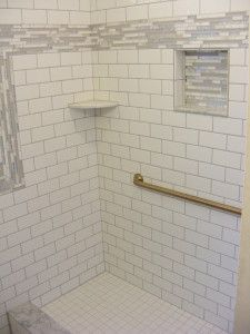 4X16 Subway Tiled Master Shower With Accent Strip  Design Inspiration Accent Bathroom Tile 2018