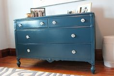 I like this blue better than black or white, which seems to be the color of choice for most furniture refinishing lately.