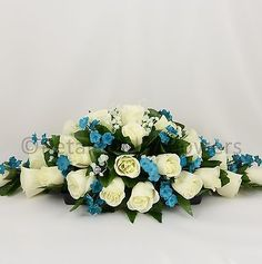 Wedding Flowers by Petals Polly, TOP TABLE DECORATION in TEAL TURQUOISE IVORY