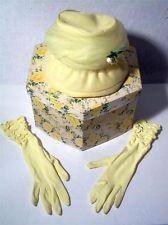 Vintage Womens Ladies Dress Hat & Glove Set W Box Yellow Lace New York Glove Co