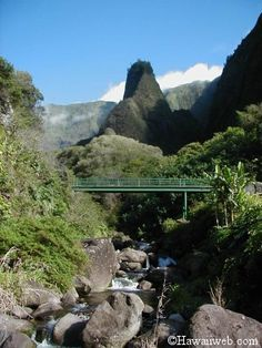 Maui-I'ao Valley. One of my favorite places to go as a child. There is a nice park with picnic facilities, gardens and more alongside the stream.