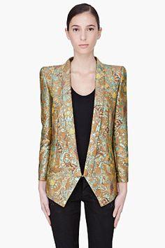 Barbara Bui Mustard & Silk Jacquard Blazer