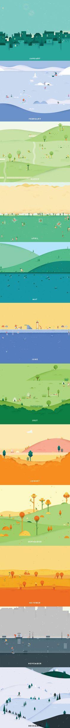 Google Calendar Header Illustrations by Lotta Nieminen 這真的太可愛了啊好想把這種背景功力學起來哦,不過我覺得有些月份的內容和名字不搭
