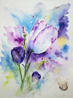 Lila und violette blüten in unseren aquarellen watercolor id Watercolor Landscape, Abstract Watercolor, Watercolour Painting, Painting & Drawing, Watercolors, Watercolor Pictures, Watercolor Cards, Watercolor Flowers, Art Floral
