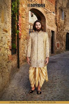 Want your groom to be picture perfect and royal? Come and get the best Royal Sherwani, Dhoti and Suits for your groom from Suvidha's Collection at Sunday Times Eastern Bridal Fair. It's only 4 Days away, be prepared to get amazed by our exquisite collection! Address: ICC Ground, Opposite Hilton, Durban, South Africa. Date: August 21st, 22nd, 23rd '15 Stall No. C1, C2, C3, C4 #SuvidhaFashion #SundayTimesEasternBridalFair Wedding Outfits For Groom, Wedding Wear, Wedding Groom, Wedding Attire, Indian Groom Dress, Indian Wear, Groom Outfit, Groom Attire, Indian Reception