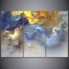 Golden Cloudy Landscape Wall Art 3 Panels Abstract Psychedelic Art Space Cloud C. Golden Cloudy Landscape Wall Art 3 Panels Abstract Psychedelic Art Space Cloud Canvas Painting for 3 Piece Canvas Art, Canvas Wall Art, Wall Art Prints, 3 Canvas Painting Ideas, Large Canvas, Mini Canvas, Painted Wall Art, Canvas Canvas, Canvas Ideas