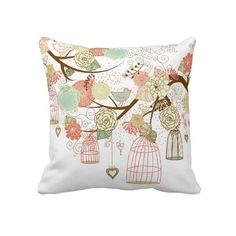 cute birds throw pillows
