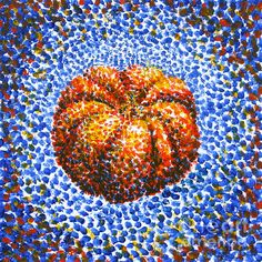 Pointillism | Pointillism Pumpkin Greeting Card