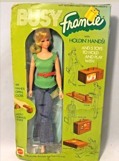 Beautiful Busy Francie with Holdin' Hands has never been removed from the box. There are dents and creases but the box is still sealed. Her hair is still sealed in its cello bag. Barbie Collector, Barbie Friends, Vintage Barbie, Barbie Dolls, Hands, Twiggy, Retro, Toys, Business