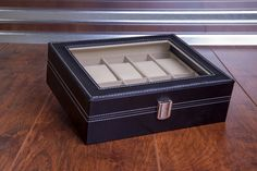 BLACK LEATHER WATCH BOX GIFT SET - 10 SLOT : Luxury black leather watch box, jewelry organizer with glass top display. Case holds up to 10 watches. This watch box is a perfect gift for any watch enthusiast. #Sunglasses #Watches #Organizer #LeatherCases #Watchbox #Gifts #GiftIdeas #Travel #LeatherAccessories #GiftsForHer #GiftsForHim