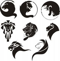 16327405-stylized-black-lions-set-of-black-and-white-vector-illustrations.jpg (398×400)