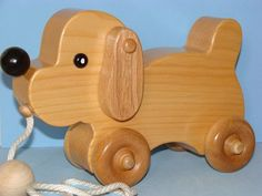 Wooden Puppy Dog PULL TOY by Darlingling on Etsy, $44.50 #woodentoy