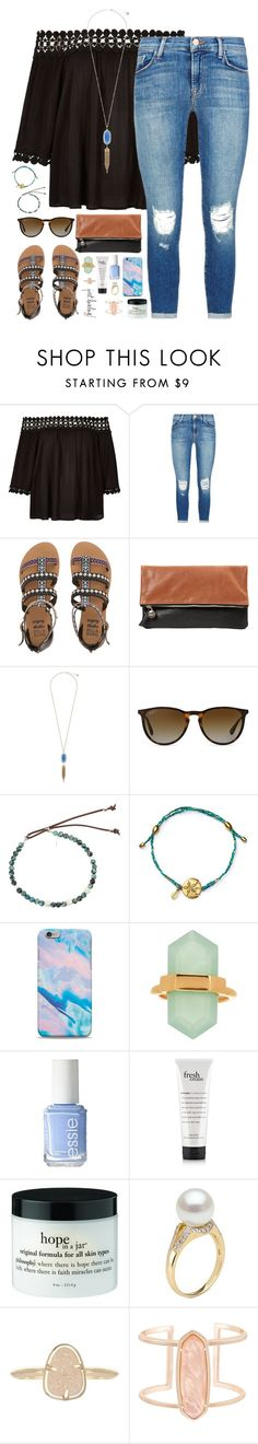 """""""pyt"""" by kaley-ii ❤ liked on Polyvore featuring River Island, J Brand, Billabong, Clare V., Kendra Scott, Ray-Ban, Catherine Michiels, Alex and Ani and Essie"""