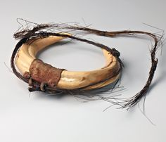 Kenya   Necklace; Boar tusks, leather and hair   Possibly Luo people   ca. 1880-1980