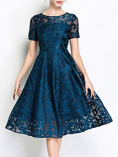 Stylewe Midi Dress Date Dress Short Sleeve Lace Guipure lace Plain Dress Winter Wedding Outfits, Wedding Dresses For Girls, Bridesmaid Dresses, Robe Swing, Swing Dress, Elegant Midi Dresses, Evening Dresses With Sleeves, Organza, Robes Midi