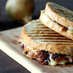Lunch idea - grilled sandwich with cheese and caramelized onion
