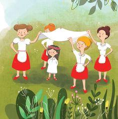 A meséből megismerhetjük az egyik legszebb tavaszi ünnepünk, a pünkösd szokásait. Megtudhatjuk, mi az a cucorkázás, ki is az a pünkösdi király és királyné, vagy mit jelent a törökbasázás. Disney Characters, Fictional Characters, Illustrations, Disney Princess, Art, Art Background, Illustration, Kunst, Performing Arts