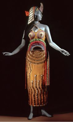 1918 Costume designed for the Ballet Russes production of Cléopâtre, by Sonia Delaunay via LACMA.doesn't look like Sonia Delaunay's usual stuff. just a bit grotesque. Sonia Delaunay, Robert Delaunay, Theatre Costumes, Ballet Costumes, Russian Ballet, National Gallery Of Art, Religion, George Balanchine, Bollywood