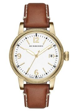 Burberry 'Utilitarian' Round Leather Strap Watch, 38mm | Nordstrom
